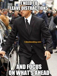 Man avoiding distractions